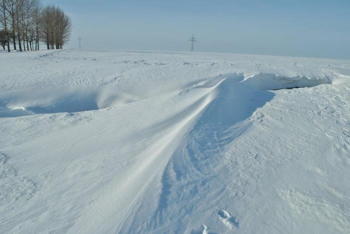 beeindruckende Schneeverwehung