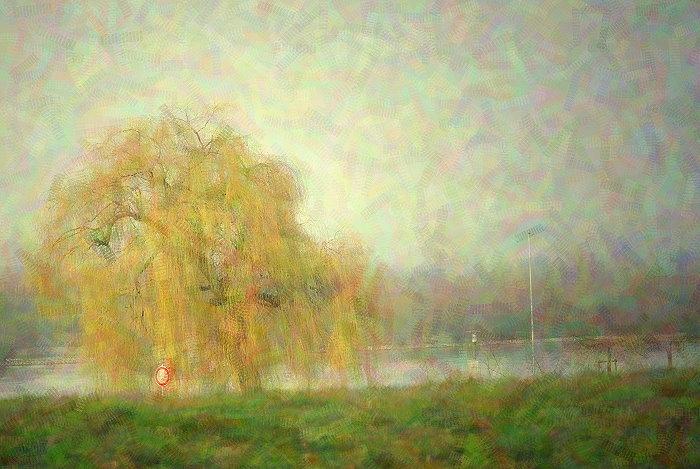 Trauerweide am Rhein Foto-Impressionismus